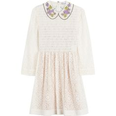 R.E.D. Valentino Smocked Lace Dress (3.775 RON) ❤ liked on Polyvore featuring dresses, beige, beige lace dress, lace cocktail dress, smock dress, white dress and 3/4 sleeve dress
