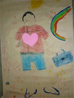 102o Νηπιαγωγείο Θεσσαλονίκης.  Τα παιδιά ζωγράφισαν ένα δάσκαλο για τη Τζενέμπα. Θέλανε να κρατάει την τσάντα του και  πολλά βιβλία. Πάνω από όλα ,όμως, θέλανε να έχει μια μεγάλη καρδιά που να χωράει και να αγαπάει όλα τα παιδιά.