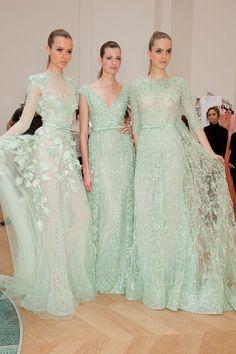 Elie Saab Haute Couture mint lace dresses.