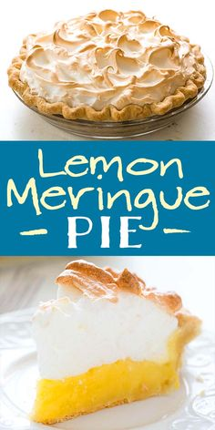 is the BEST lemon meringue pie! The tart and creamy lemon custard filling is topped with mile-high billowy meringue. Make this when you want something impressive! Lemon Desserts, Köstliche Desserts, Lemon Recipes, Plated Desserts, Lemon Filling, Custard Filling, Mini Lemon Meringue Pies, Lemon Custard Pie, Mile High Lemon Meringue Pie Recipe