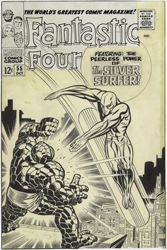 """Fantastic Four vol. 1 # 55, """"When Strikes the Silver Surfer!"""" (October, 1966). Cover by Jack Kirby & Joe Sinnott."""