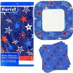 4th of July Party Pack with Paper Plates Napkins and Plastic Table Cover Serves 14 Blue Stars Pa09 *** See this great product.  This link participates in Amazon Service LLC Associates Program, a program designed to let participant earn advertising fees by advertising and linking to Amazon.com.
