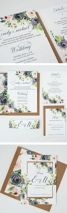 Set the tone for your rustic garden wedding with invitations from the Ava suite. Blooms in navy and blush complimented by greenery are fresh in any season. Traditional Wedding Invitations, Creative Wedding Invitations, Rustic Invitations, Wedding Invitation Suite, Rustic Garden Wedding, Diy Wedding, Spring Wedding, Ava, Greenery
