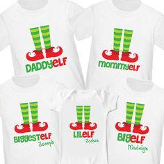 elf family christmas shirts set of 5 2 adult sizes and 3 child sizes matching christmas shirts christmas pajama shirts