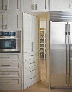 Door to Pantry hidden in cabinetry