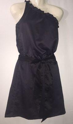Womens Gap Sz XS Short Black Satin Dress One Shoulder Sleeveless Juniors Ok #GAP #OneShoulder #SpecialOccasion