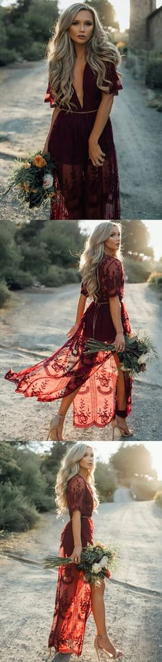 Burgundy Short Sleeves Lace Long Prom Dress #promdresses #longpromdresses #burgundypromdresses #lacepromdresses #2018promdresses