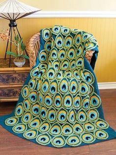 Kreatív ötletek - DIY Pretty Horgolt Peacock takaró