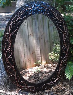 Large Mixed Media Oval Mosaic Mirror - Black and Brown Glass Tiles with Copper Wire Scroll