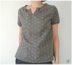 """""""Mon petit bazar"""" : modèle V, """"sweet Dress Book"""", aucune modification  tissu: flanelle Nani Iro taupe,"""