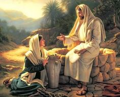 Jesus Picture Teaching The Woman At The Well. Great lesson of how Jesus is 'thirsty' for our faith and our love! And He reminds us even on the cross as his last spoken words. Amen to you My Lord. Pictures Of Jesus Christ, Bible Pictures, Lds Art, Bible Art, Image Jesus, Christian Pictures, Saint Esprit, Jesus Christus, Jesus Art