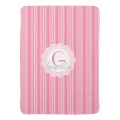 Pink Striped Monogram Custom Initial Baby Blanket - monogram gifts unique design style monogrammed diy cyo customize