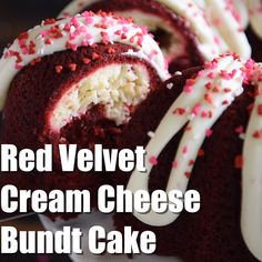 Red Velvet Cream Cheese Bundt Cake this moist red velvet bundt cake is swirled with a sweet cream cheese filling and topped with a whipped cream cheese frosting! RedVelvet RedVelvetBundtCake RedVe is part of Cream cheese bundt cake - Easy Cake Recipes, Sweet Recipes, Baking Recipes, Dessert Recipes, Pound Cake Recipes, Cupcake Recipes, Dessert Ideas, Soup Recipes, Receita Red Velvet