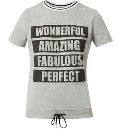 Fashion Union Grey Wonderful Amazing Ribbed Neck T-Shirt