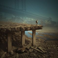 Landscape. bridge. dry river. wanderer with gun.   Beautiful Apocalypse von Karezoid Michal Karcz  auf 500px