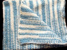 CIJ SALE Blue & White Striped Baby Afghan