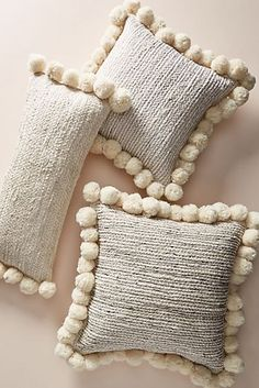 White Pillows by Anthropologie, Pommed Jute Pillow - deco - Boho Pillows, White Pillows, Diy Pillows, Accent Pillows, Decorative Throw Pillows, White Bedding, Pillow Ideas, Handmade Pillows, Tapetes Diy