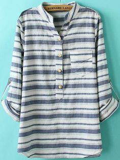 Blue Long Sleeve Striped Pocket Blouse - perfect for those days where you want to look effortless.
