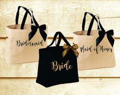 Personalized Bridal Tote Bag, Bridesmaid Tote Bag, Maid of Honor Tote Bag, Monogrammed Tote Bag Bridesmaid Tote Bags, Bridesmaid Gift Boxes, Cheap Bridesmaid Gifts, Maid Of Honour Gifts, Maid Of Honor, Black Bridal Parties, Monogram Tote Bags, Girls Bags, Bridal Gifts