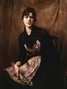 "Anna Bilińska-Bohdanowicz ""Self-Portrait with Apron and Brushes"" 1887 National Museum, Krakow"