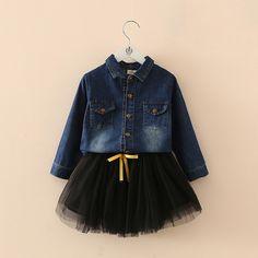 28.00$  Buy here - https://alitems.com/g/1e8d114494b01f4c715516525dc3e8/?i=5&ulp=https%3A%2F%2Fwww.aliexpress.com%2Fitem%2FTulle-baby-dress-set-2016-autumn-children-s-clothing-girls-denim-shirt-short-skirt-Children-s%2F32725791943.html - Tulle baby dress set 2016 autumn  children's clothing  girls denim shirt short skirt  Children's Sets 28.00$