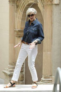I'm not for white pants, but I love the shirt. White Jeans, Button Downs, Collars, Buttons, Pants, Outfits, Tops, Fashion, Outfit