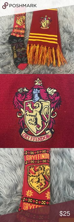 Harry Potter Gryffindor Scarf and Socks Set Great preowned condition. Socks are one size fits all. Scarf is approx 66 inches in length. Wizarding World of Harry Potter Universal Studios Harry Potter Accessories Scarves & Wraps