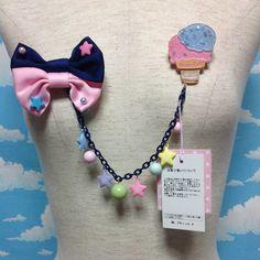 Milky★Planet Brooch in Navy x Pink from Angelic Pretty - Lolita Desu