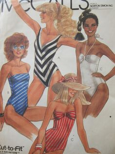 Vintage McCall's 8564 Sewing Pattern, 1980s Swimsuit Pattern, Bathing Suit Pattern, One Piece Swimsuit, 1980s Sewing Pattern, Bust 31.5 - 34 by sewbettyanddot on Etsy