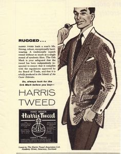 """Whether woven in herringbone, houndstooth glen check or tartan, flecked, mingled or striped, the traditional rough feel and subtle coloring of Harris Tweed — and the fact that it is, by definition, handwoven in Harris and the other islands of the Outer Hebrides — have made it, to quote one designer, one of the world's most """"noble fabrics."""""""