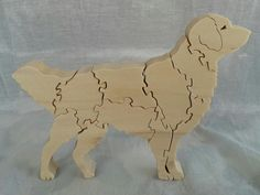 Golden retriever Wooden 3D Puzzle in Poplar by HolyokePuzzles, $14.95 Use coupon code PIN10 for 10% off anything in the Holyoke Puzzles store. #shopsmall #artisansofwmass