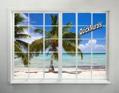 Palm Beach Window Wall Mural