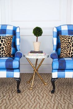 "Blue and White Chelsea Wing Chair - Inslee ""Watercolor Gingham"" Interior Exterior, Home Interior, Interior Design, Living Room Throws, Corner Seating, Patterned Chair, Furniture Upholstery, Upholstery Repair, Upholstery Tacks"