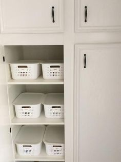 White Nordic Storage Baskets with Handles | The Container Store