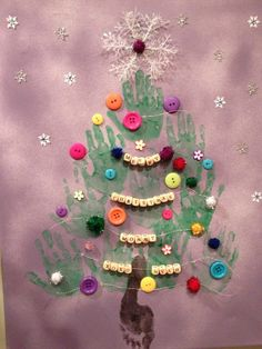 Christmas Gift idea for toddlers to make!  Could make Christmas cards for families like this, but let the children glue on their own buttons and scribble on the inside of the card--Maybe put a photo on the inside of the card.