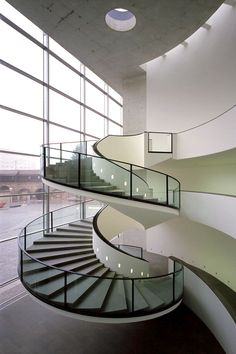 Awesome 47 Modern Spiral Stairs Design Ideas That Will Make Amazed. Glass Stairs Design, Spiral Stairs Design, Spiral Staircase, Staircase Design, Dark Staircase, Stair Design, Staircase Ideas, Detail Architecture, Interior Architecture