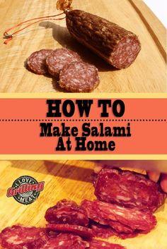 How To Make Salami At Home (Soppressata Recipe) Homemade Salami Recipe, Salami Recipes, Homemade Sausage Recipes, Charcuterie Recipes, Jerky Recipes, Homemade Pickles, Meat Recipes, Venison Salami Recipe, Baking Center