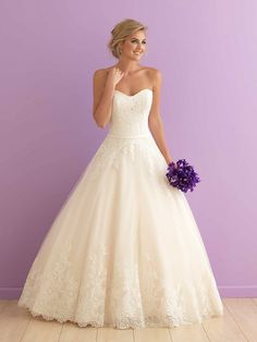 Strapless, sweetheart ball gown wedding dress with lace detailing - Style 2902 from @allurebridals