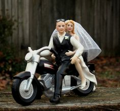 Bald Groom Cake Topper Motorcycle by Magical Day - New!