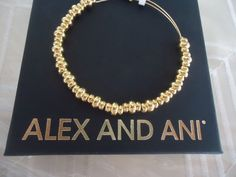 Authentic Alex and Ani  NILE  Shiny Gold Finish  Bangle New W/ Tag Card & Box #AlexandAni