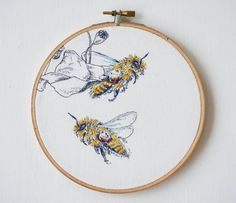"""376 Likes, 9 Comments - Stephanie Graham (@stringandbone) on Instagram: """"in the shop! #embroidery #bees #etsy #intheshop #stringandbone"""""""