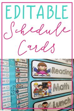 Completely customizable schedule cards to meet your classroom needs! Included are directions on how to edit and a blank version to create your own! These fit perfectly into a pocket chart! Classroom Schedule Cards, Classroom Setup, Kindergarten Classroom, Classroom Organization, Classroom Management, Classroom Signs, Class Management, Future Classroom, Organization Ideas