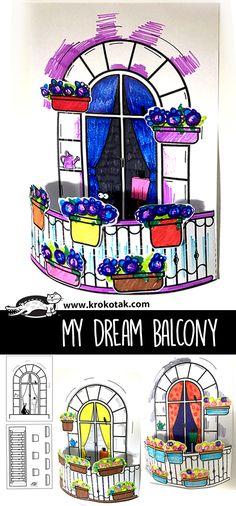 My dream balcony Bear Crafts, Fun Crafts, Diy And Crafts, Crafts For Kids, Paper Crafts, Z Craft, Craft Desk, Summer Art, Summer Crafts