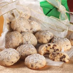 Mini Chip Snowball Cookies: 7 ingredients- 1 1/2 cups (3 sticks) butter-softened- 3/4 cup powdered sugar- 1 tablespoon vanilla extract- 1/2 teaspoon salt- 3 cups all-purpose flour- 2 cups (12oz. pkg) semi-sweet chocolate mini morsels- 1/2 cup finely chopped nuts-...click to see