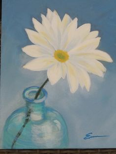 acrylic painting WHITE FLOWER on canvas board 9 x 12 by lecraftee, $10.00
