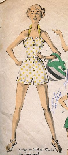Pinup Rockabilly Playsuit Custom Made Janet Leigh Vintage Retro