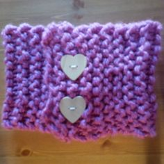 Hand knit neck warmer, pink with wooden heart buttons. Heart Button, Wooden Hearts, Neck Warmer, Knits, Hand Knitting, Crochet Hats, Buttons, Pink, Knitting Hats