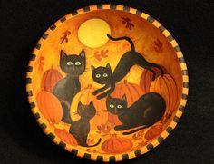 Black Cats in a Pumpkin Patch   Ravens Bend Folk Art