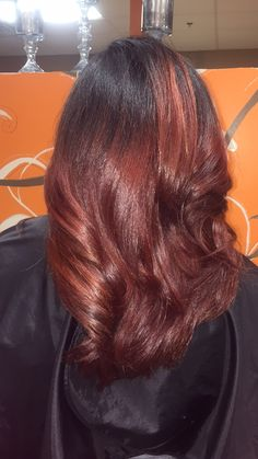 Fall Auburn Hair, Hair Color Auburn, Hair Color For Black Hair, Fall Hair, Pressed Natural Hair, Dyed Natural Hair, Natural Hair Blowout, Auburn Balayage, Balayage Hair