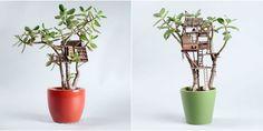 Tiny Tree Houses for Houseplants - Adorable Mini Houseplant Tree Houses